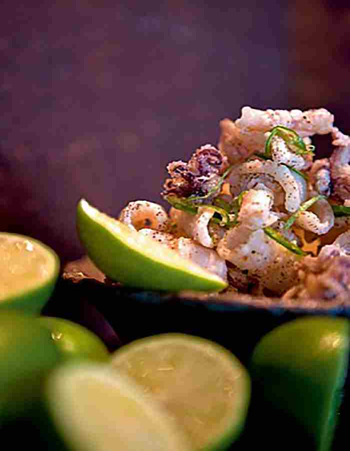 Crispy squid with green chilli and lime at Zuma